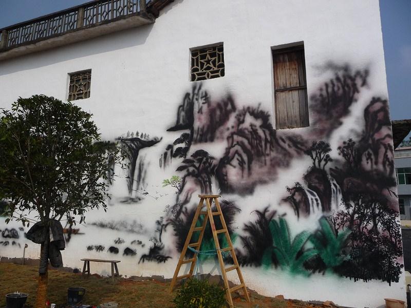安阳水墨山水传统文化墙彩绘